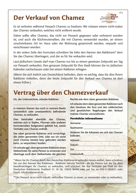 Vertrag über Chametzverkauf
